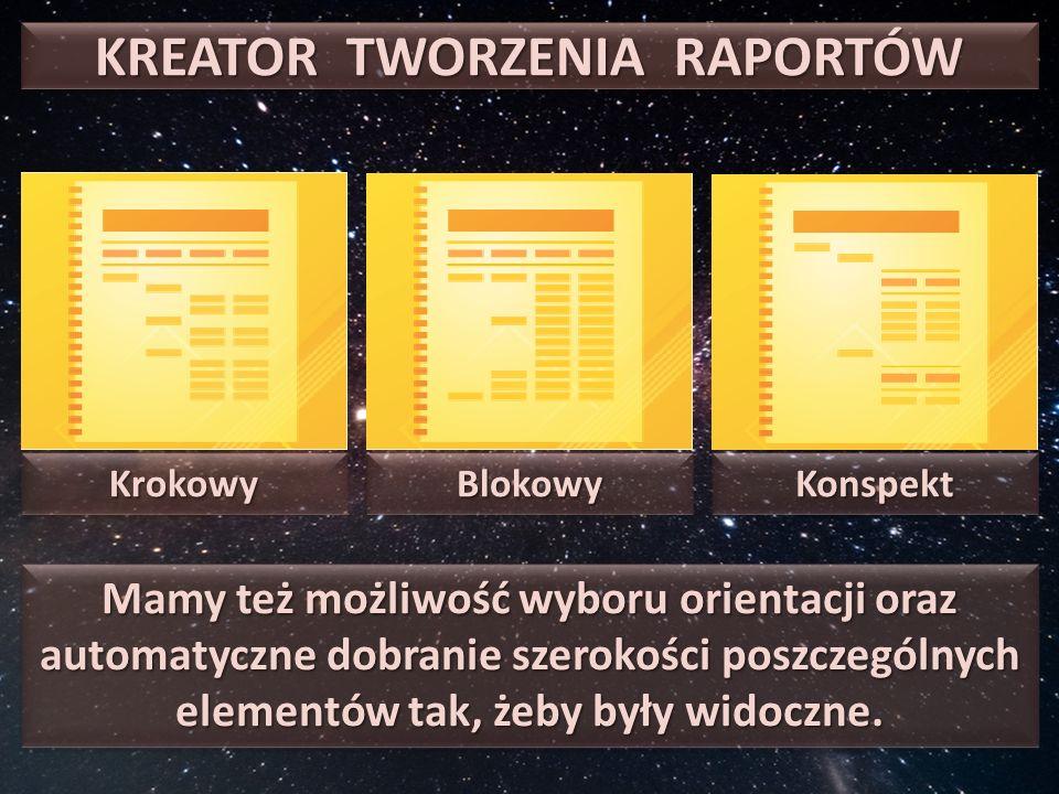 KREATOR TWORZENIA RAPORTÓW KrokowyKrokowyBlokowyBlokowyKonspektKonspekt Mamy też możliwość wyboru orientacji oraz automatyczne dobranie szerokości poszczególnych elementów tak, żeby były widoczne.