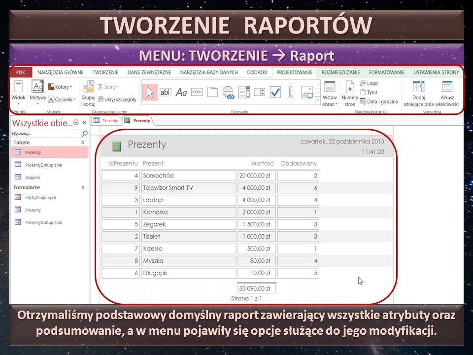 TWORZENIE RAPORTÓW MENU: TWORZENIE  Raport Otrzymaliśmy podstawowy domyślny raport zawierający wszystkie atrybuty oraz podsumowanie, a w menu pojawiły się opcje służące do jego modyfikacji.