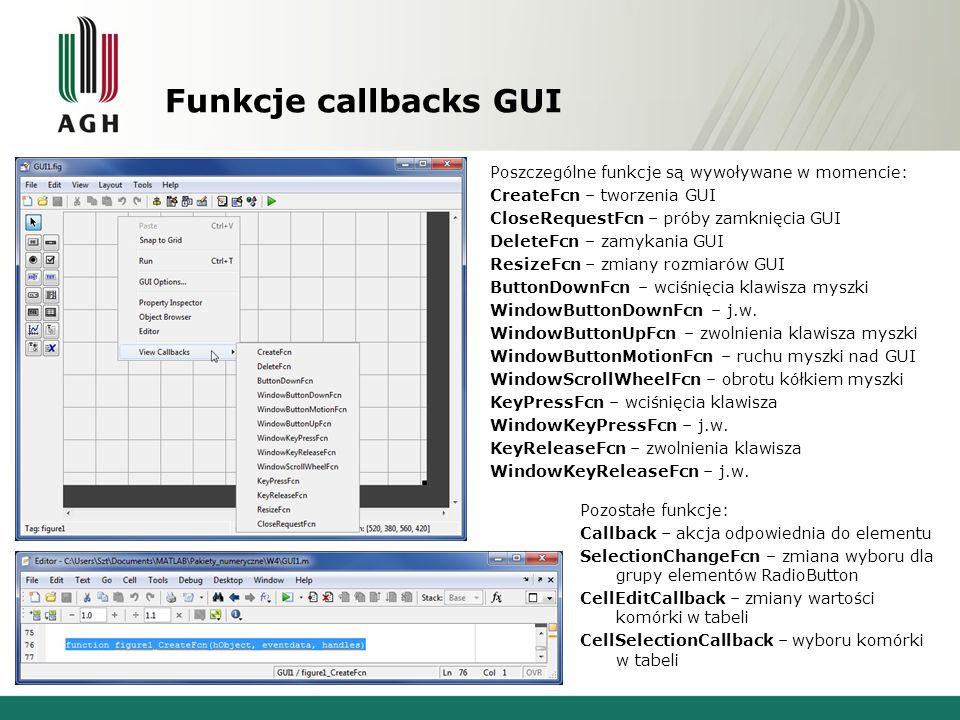 Funkcje callbacks GUI Poszczególne funkcje są wywoływane w momencie: CreateFcn – tworzenia GUI CloseRequestFcn – próby zamknięcia GUI DeleteFcn – zamykania GUI ResizeFcn – zmiany rozmiarów GUI ButtonDownFcn – wciśnięcia klawisza myszki WindowButtonDownFcn – j.w.