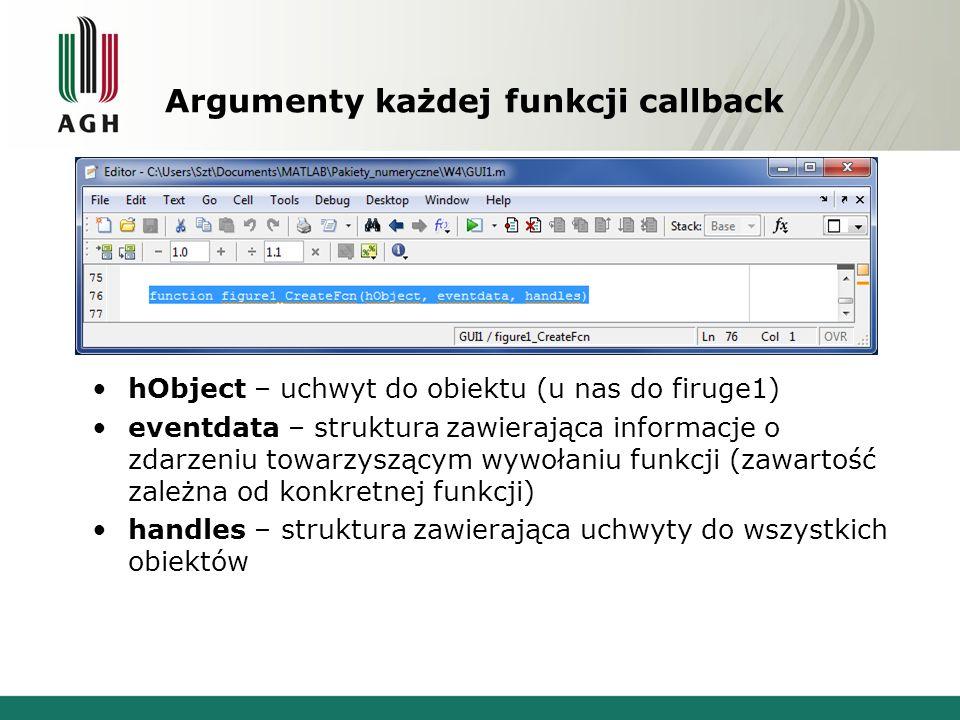 Argumenty każdej funkcji callback hObject – uchwyt do obiektu (u nas do firuge1) eventdata – struktura zawierająca informacje o zdarzeniu towarzyszącym wywołaniu funkcji (zawartość zależna od konkretnej funkcji) handles – struktura zawierająca uchwyty do wszystkich obiektów