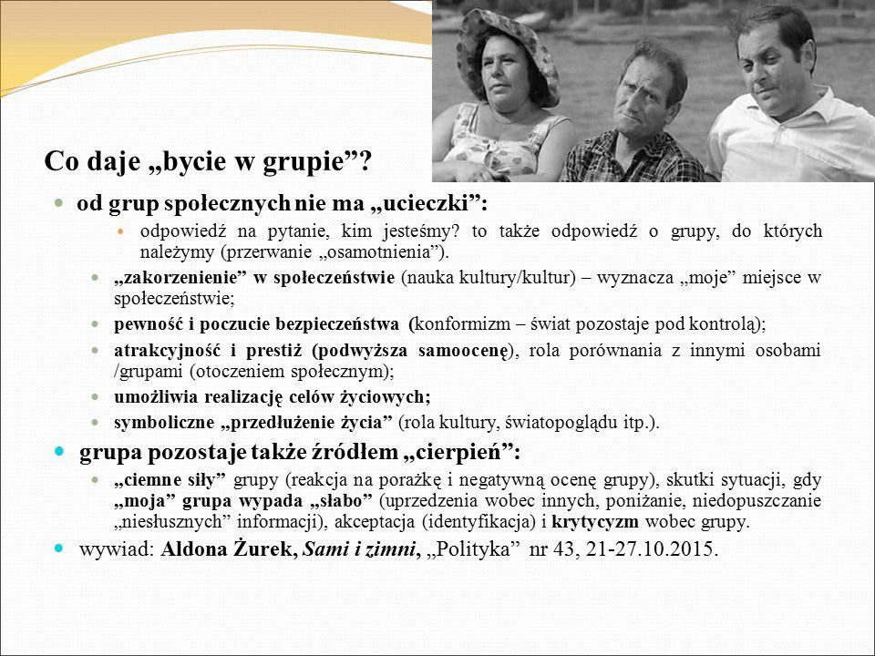 """Co daje """"bycie w grupie""""? od grup społecznych nie ma """"ucieczki"""": odpowiedź na pytanie, kim jesteśmy? to także odpowiedź o grupy, do których należymy ("""