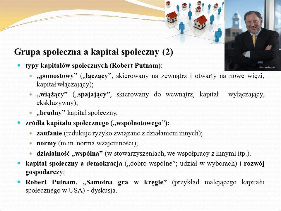 """Grupa społeczna a kapitał społeczny (2) typy kapitałów społecznych (Robert Putnam): """"pomostowy"""" (""""łączący"""", skierowany na zewnątrz i otwarty na nowe w"""