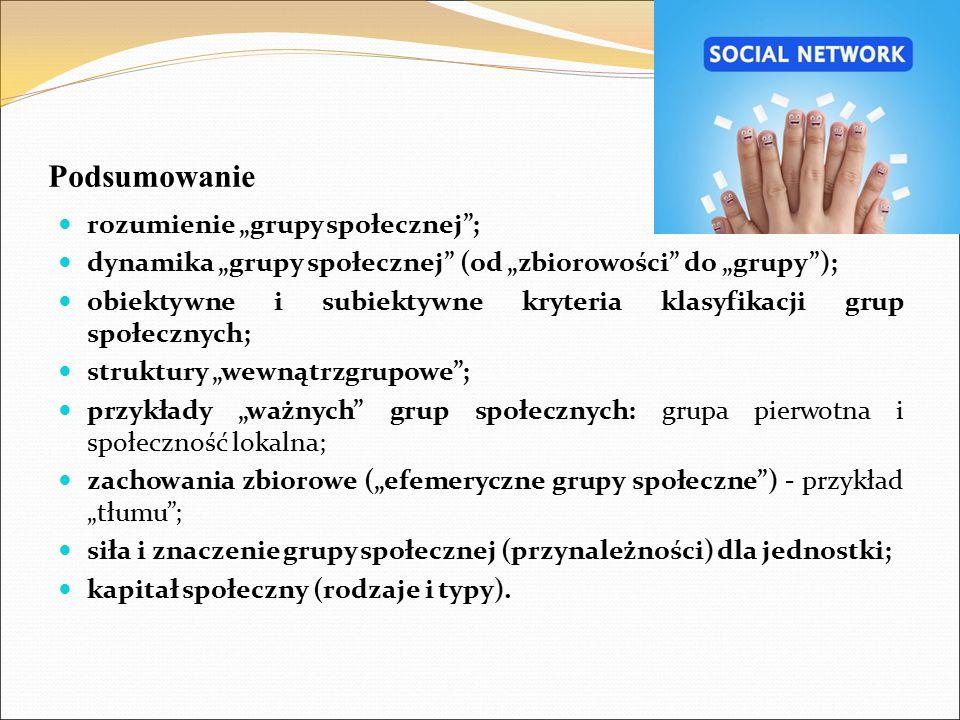 """Podsumowanie rozumienie """"grupy społecznej""""; dynamika """"grupy społecznej"""" (od """"zbiorowości"""" do """"grupy""""); obiektywne i subiektywne kryteria klasyfikacji"""