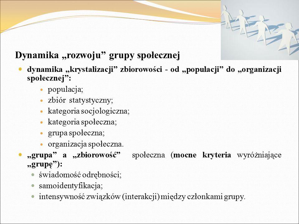 """Dynamika """"rozwoju"""" grupy społecznej dynamika """"krystalizacji"""" zbiorowości - od """"populacji"""" do """"organizacji społecznej"""": populacja; zbiór statystyczny;"""