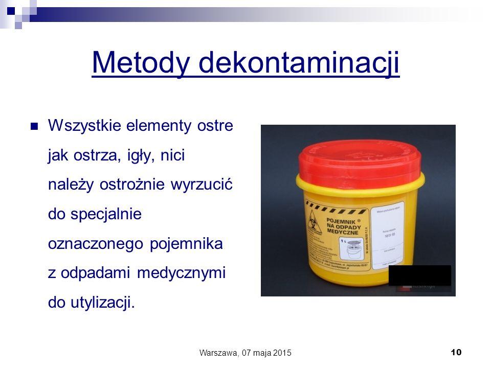 Metody dekontaminacji Wszystkie elementy ostre jak ostrza, igły, nici należy ostrożnie wyrzucić do specjalnie oznaczonego pojemnika z odpadami medyczn