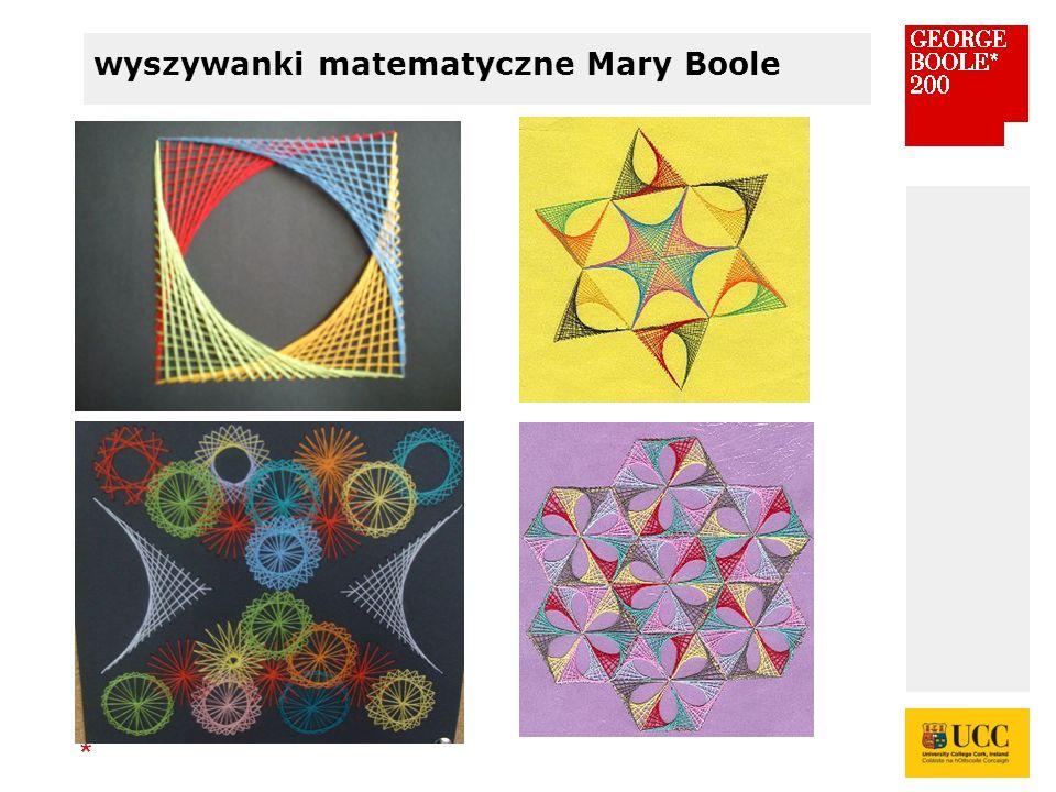 * wyszywanki matematyczne Mary Boole
