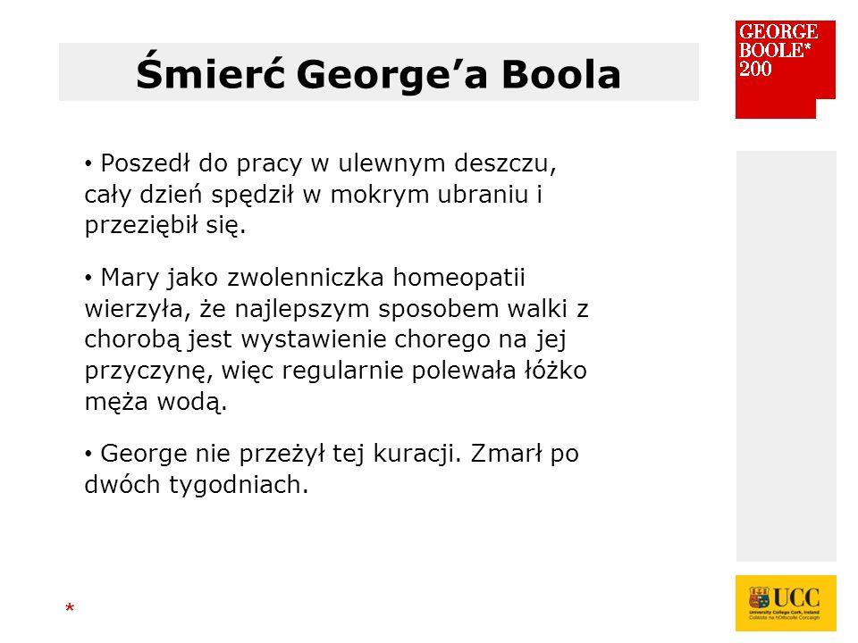 * Śmierć George'a Boola Poszedł do pracy w ulewnym deszczu, cały dzień spędził w mokrym ubraniu i przeziębił się.