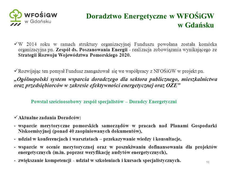 16 Doradztwo Energetyczne w WFOŚiGW w Gdańsku W 2014 roku w ramach struktury organizacyjnej Funduszu powołana została komórka organizacyjna pn. Zespół