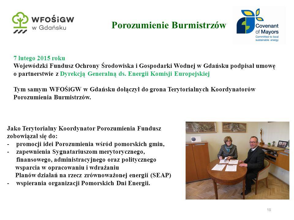 18 7 lutego 2015 roku Wojewódzki Fundusz Ochrony Środowiska i Gospodarki Wodnej w Gdańsku podpisał umowę o partnerstwie z Dyrekcją Generalną ds. Energ