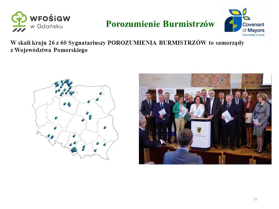 19 Porozumienie Burmistrzów Podczas pierwszej edycji Pomorskich Dni Energii w 2011 roku do Porozumienie Burmistrzów przystąpiły pierwsze gminy z Wojew