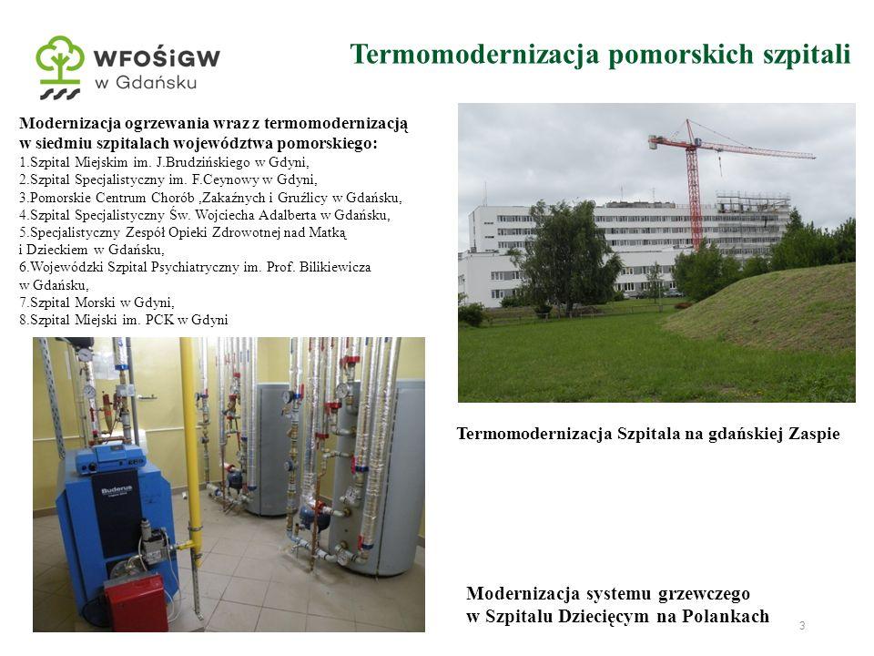 3 Termomodernizacja pomorskich szpitali Modernizacja ogrzewania wraz z termomodernizacją w siedmiu szpitalach województwa pomorskiego: 1.Szpital Miejs