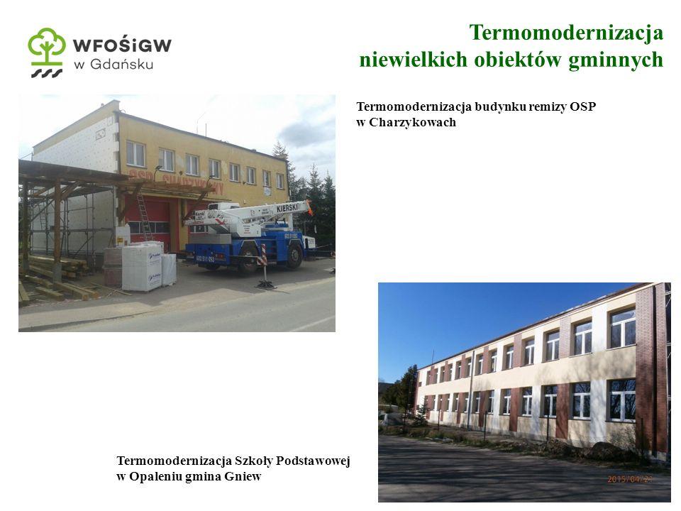 7 Termomodernizacja niewielkich obiektów gminnych Termomodernizacja budynku remizy OSP w Charzykowach Termomodernizacja Szkoły Podstawowej w Opaleniu