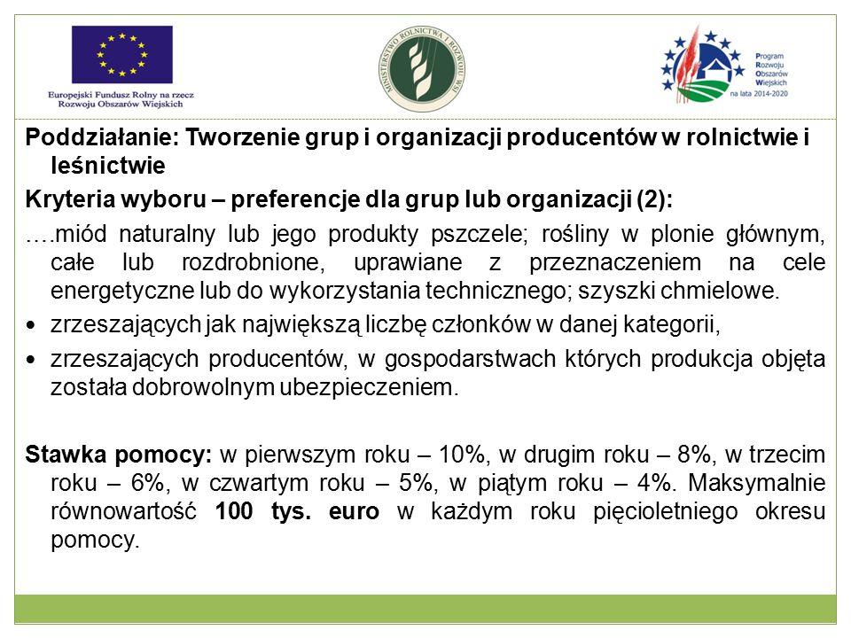 Poddziałanie: Tworzenie grup i organizacji producentów w rolnictwie i leśnictwie Kryteria wyboru – preferencje dla grup lub organizacji (2): ….miód na