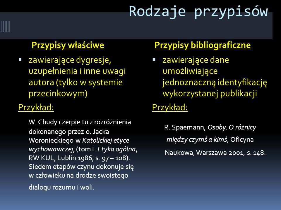 Rodzaje przypisów Przypisy właściwePrzypisy bibliograficzne  zawierające dygresje, uzupełnienia i inne uwagi autora (tylko w systemie przecinkowym) P