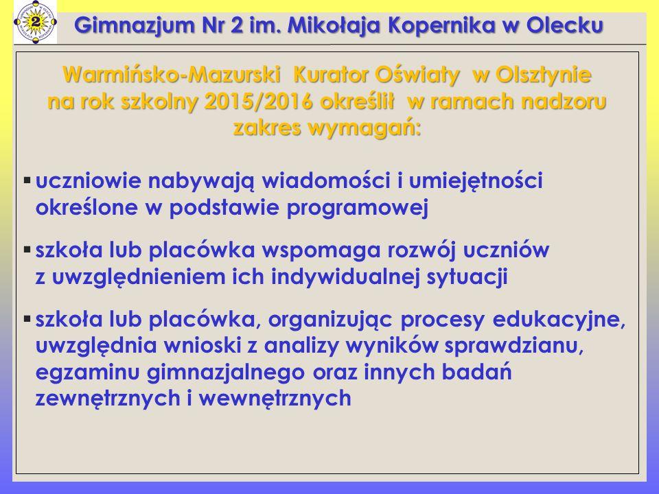 Warmińsko-Mazurski Kurator Oświaty w Olsztynie na rok szkolny 2015/2016 określił w ramach nadzoru zakres wymagań:  uczniowie nabywają wiadomości i um