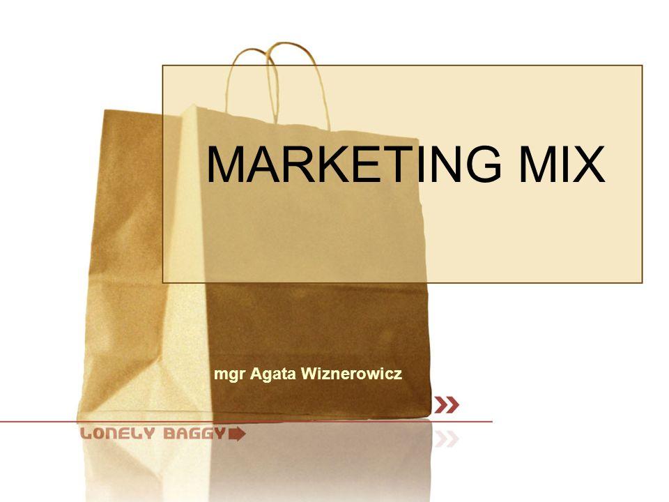 MODEL MARKETING-MIX  Marketing – mix to model umożliwiający implementację strategii marketingowych  Podkreśla on przenikanie się poszczególnych jego części na płaszczyźnie zetknięcia się organizacji z rynkiem
