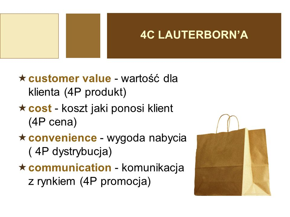 4C LAUTERBORN'A  customer value - wartość dla klienta (4P produkt)  cost - koszt jaki ponosi klient (4P cena)  convenience - wygoda nabycia ( 4P dy