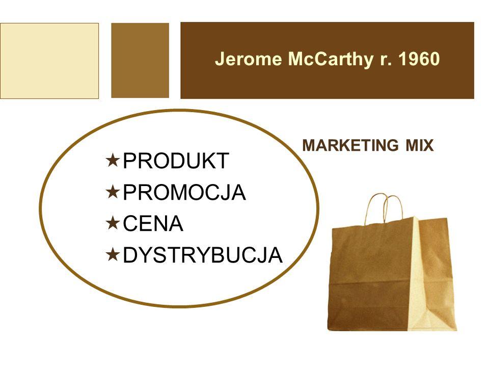 Jerome McCarthy r. 1960  PRODUKT  PROMOCJA  CENA  DYSTRYBUCJA MARKETING MIX