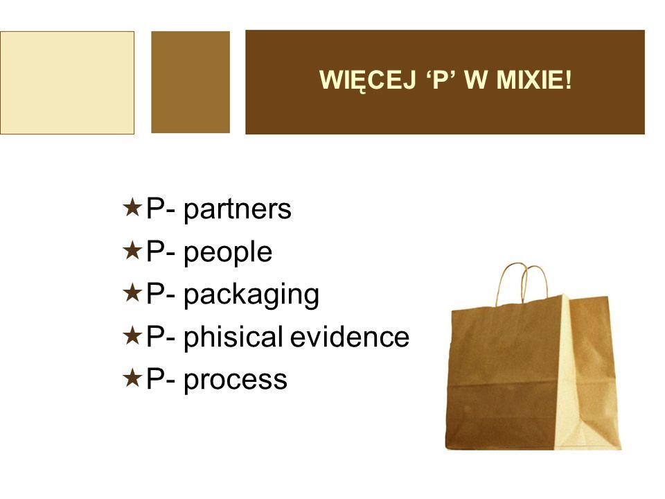  people ludzie  personel obsługujący, klient, inni nabywcy  process proces  przebieg świadczenia usługi od zainteresowania klienta, poprzez informację, sprzedaż i obsługę posprzedażową  physical evidence świadectwo materialne  Są to wszystkie wizualne i materialne elementy (budynki, meble, wyposażenie techniczne, ulotki itp.), które dla klientów są dowodem jakości danej usługi