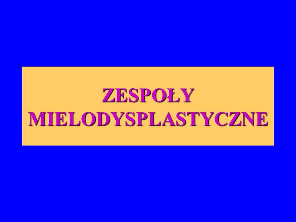 Zespoły mielodysplastyczne (myelodysplastic syndromes – MDS) są heterogenną grupą klonalnych chorób układu krwiotwórczego o nowotworowym przebiegu i mało poznanej etiologii, wywodzących się ze zmutowanej KKM.