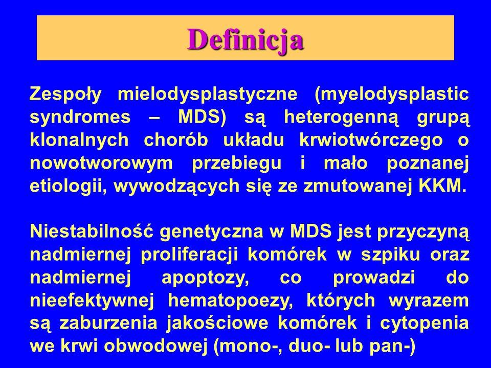 Cechy charakterystyczne  Mono-, Duo- lub Pancytopenia we krwi obwodowej  Bogatokomórkowy szpik ze zmianami jakościowymi erytroblastów i/lub neutrofilów i/lub megakariocytów  Czasami zwiększony odsetek mieloblastów w szpiku kostnym