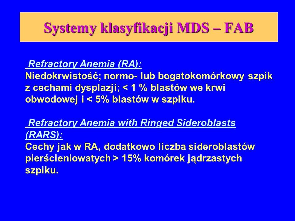 Systemy klasyfikacji MDS – FAB (cd) Refractory Anemia with Excess Blasts (RAEB): Cytopenia dwu lub trójliniowa we krwi obwodowej; w szpiku dysplazja obejmująca trzy linie; < 5% blastów we krwi; 5-20% blastów w szpiku.