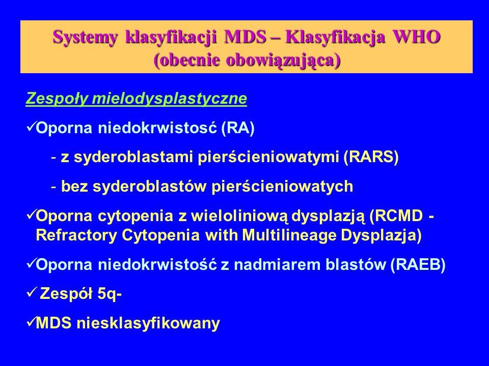 Systemy klasyfikacji MDS – Klasyfikacja WHO (obecnie obowiązująca - cd) Zespoły Mielodysplastyczno / Mieloproliferacyjne (MDS/MPD) Przewlekła białaczka mielomonocytowa (CMML) Atypowa przewlekła białaczka szpikowa (aCML - Atypical Chronic Myelogenous Leukemia) Białaczka mielomonocytowa młodocianych (JMML - Juvenile Myelomonocytic Leukemia)
