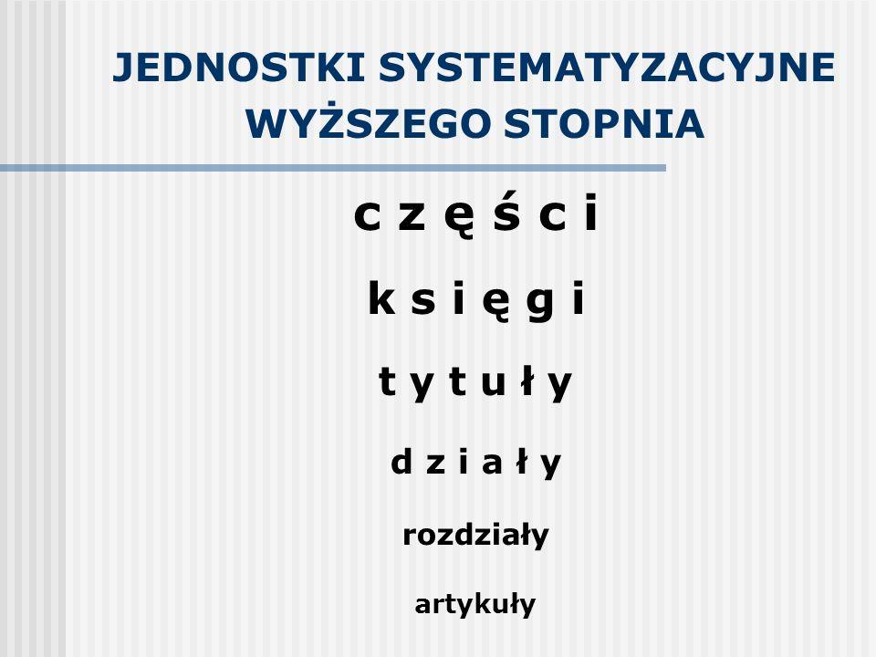 JEDNOSTKI SYSTEMATYZACYJNE WYŻSZEGO STOPNIA c z ę ś c i k s i ę g i t y t u ł y d z i a ł y rozdziały artykuły