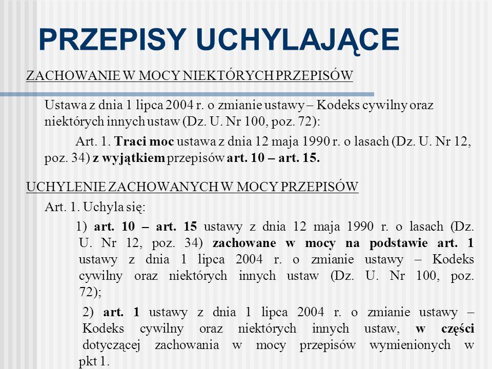 PRZEPISY UCHYLAJĄCE ZACHOWANIE W MOCY NIEKTÓRYCH PRZEPISÓW Ustawa z dnia 1 lipca 2004 r. o zmianie ustawy – Kodeks cywilny oraz niektórych innych usta