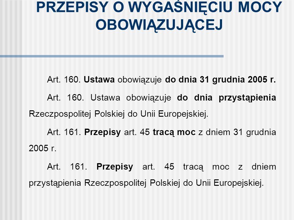 PRZEPISY O WYGAŚNIĘCIU MOCY OBOWIĄZUJĄCEJ Art. 160. Ustawa obowiązuje do dnia 31 grudnia 2005 r. Art. 160. Ustawa obowiązuje do dnia przystąpienia Rze