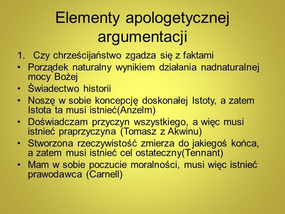 Elementy apologetycznej argumentacji 1.Czy chrześcijaństwo zgadza się z faktami Porządek naturalny wynikiem działania nadnaturalnej mocy Bożej Świadec