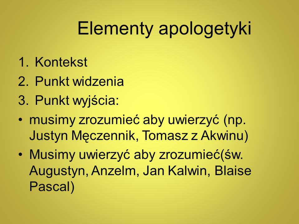 Elementy apologetyki 1.Kontekst 2.Punkt widzenia 3.Punkt wyjścia: musimy zrozumieć aby uwierzyć (np. Justyn Męczennik, Tomasz z Akwinu) Musimy uwierzy