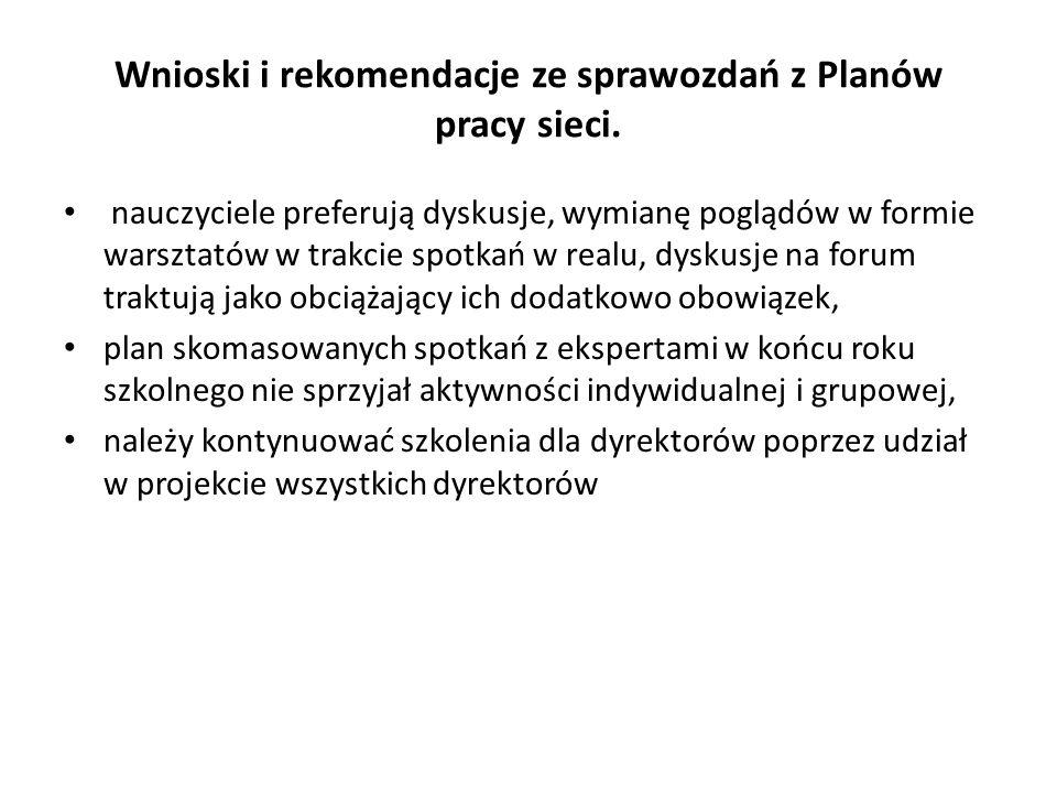 Wnioski i rekomendacje ze sprawozdań z Planów pracy sieci.
