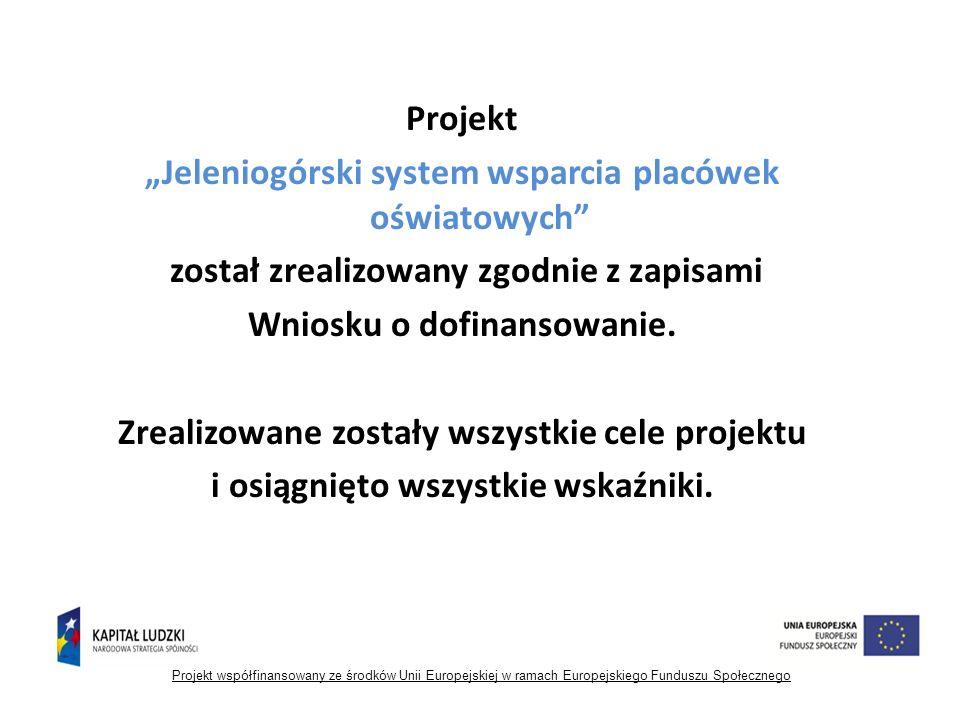 """Projekt """"Jeleniogórski system wsparcia placówek oświatowych został zrealizowany zgodnie z zapisami Wniosku o dofinansowanie."""