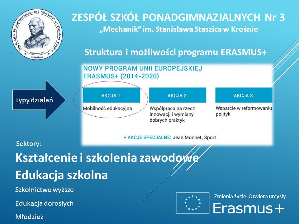 """Zmienia życie. Otwiera umysły. Struktura i możliwości programu ERASMUS+ Kształcenie i szkolenia zawodowe ZESPÓŁ SZKÓŁ PONADGIMNAZJALNYCH Nr 3 """"Mechani"""