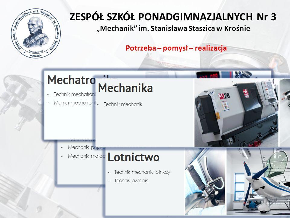 -Technik pojazdów samochodowych -Mechanik pojazdów samochodowych -Mechanik motocyklowy -Technik mechatronik -Monter mechatronik -Technik mechanik lotn