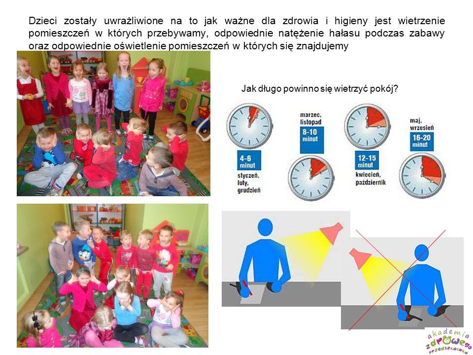 Dzieci zostały uwrażliwione na to jak ważne dla zdrowia i higieny jest wietrzenie pomieszczeń w których przebywamy, odpowiednie natężenie hałasu podczas zabawy oraz odpowiednie oświetlenie pomieszczeń w których się znajdujemy Jak długo powinno się wietrzyć pokój