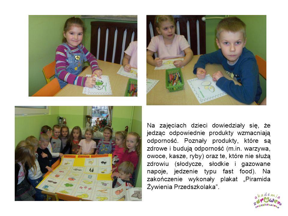 Na zajęciach dzieci dowiedziały się, że jedząc odpowiednie produkty wzmacniają odporność. Poznały produkty, które są zdrowe i budują odporność (m.in.
