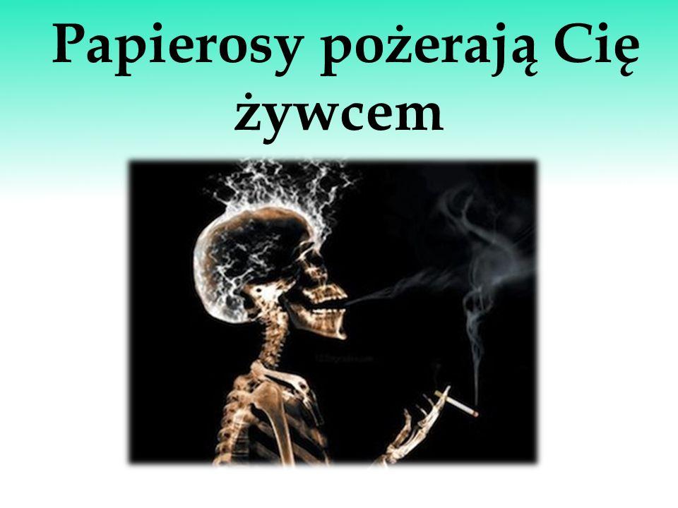 Zagrożenie dotyczy nas wszystkich Tytoń jest substancją mocno uzależniającą, a papieros to nie tylko trochę liści tytoniu zawiniętych w papierek, ale przede wszystkim wysoko wyspecjalizowany produkt prowadzący do uzależnienia palacza i jednocześnie jedyny produkt, którego używanie zgodnie z jego przeznaczeniem powoduje przedwczesną śmierć.
