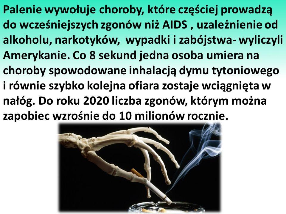 Z powodu używania tytoniu: Rocznie umiera w świecie 5000000 osób W Polsce: -rocznie umiera 70000 osób -co godzinę umiera 8 osób