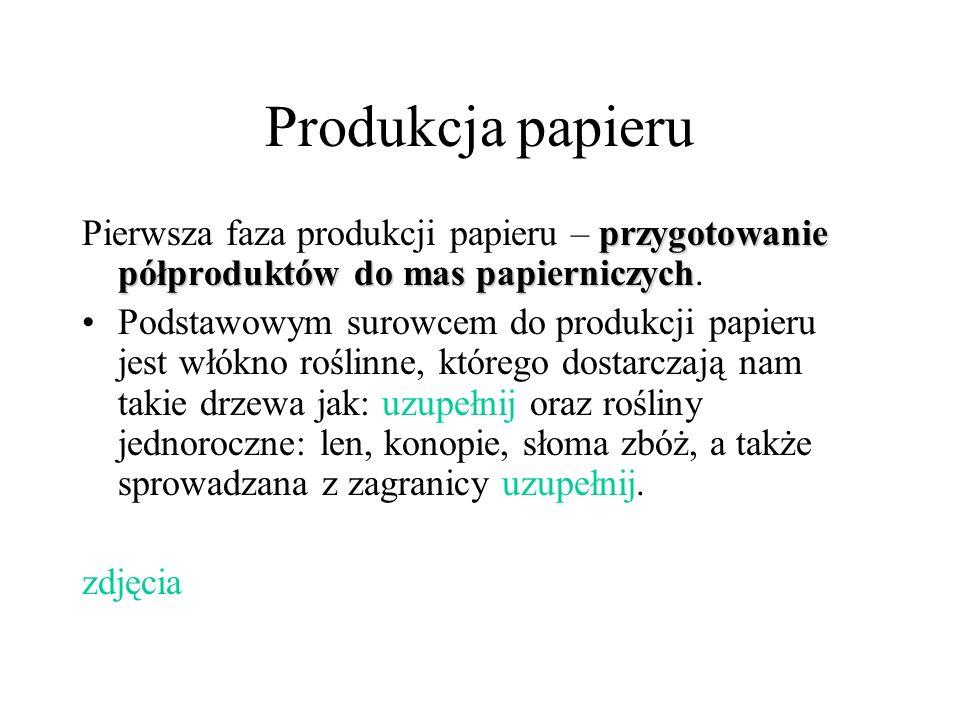 Produkcja papieru przygotowanie półproduktów do mas papierniczych Pierwsza faza produkcji papieru – przygotowanie półproduktów do mas papierniczych. P