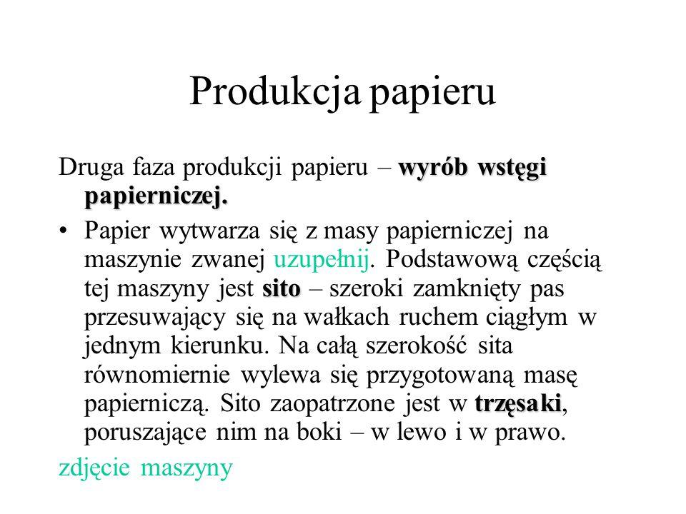 Produkcja papieru wyrób wstęgi papierniczej. Druga faza produkcji papieru – wyrób wstęgi papierniczej. sito trzęsakiPapier wytwarza się z masy papiern