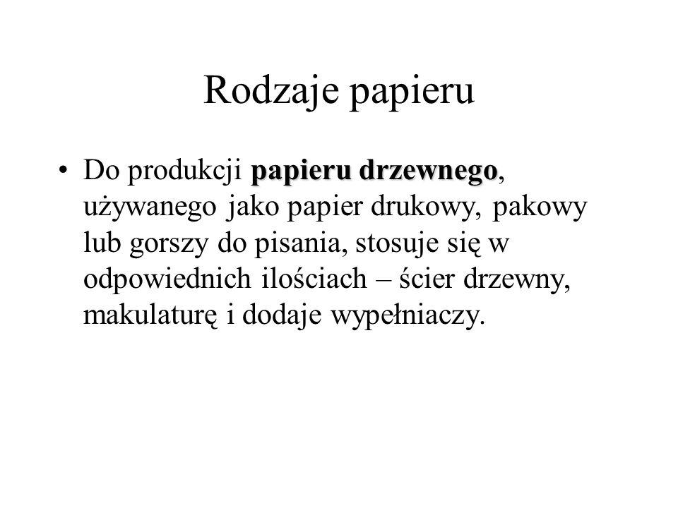 Rodzaje papieru papieru drzewnegoDo produkcji papieru drzewnego, używanego jako papier drukowy, pakowy lub gorszy do pisania, stosuje się w odpowiedni
