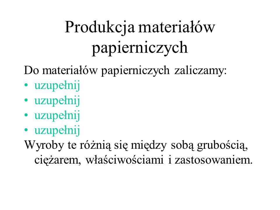 Produkcja materiałów papierniczych Do materiałów papierniczych zaliczamy: uzupełnij Wyroby te różnią się między sobą grubością, ciężarem, właściwościa