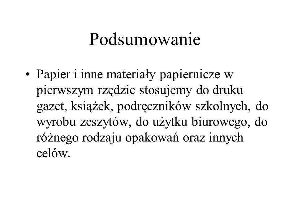 Podsumowanie Papier i inne materiały papiernicze w pierwszym rzędzie stosujemy do druku gazet, książek, podręczników szkolnych, do wyrobu zeszytów, do