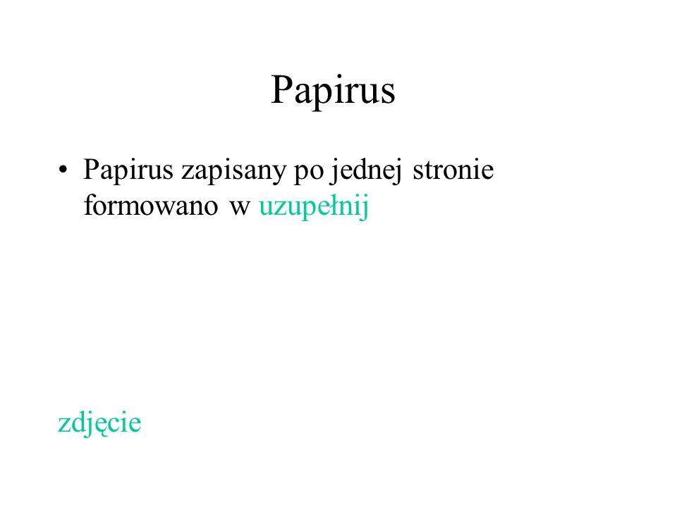 Papirus Papirus zapisany po jednej stronie formowano w uzupełnij zdjęcie
