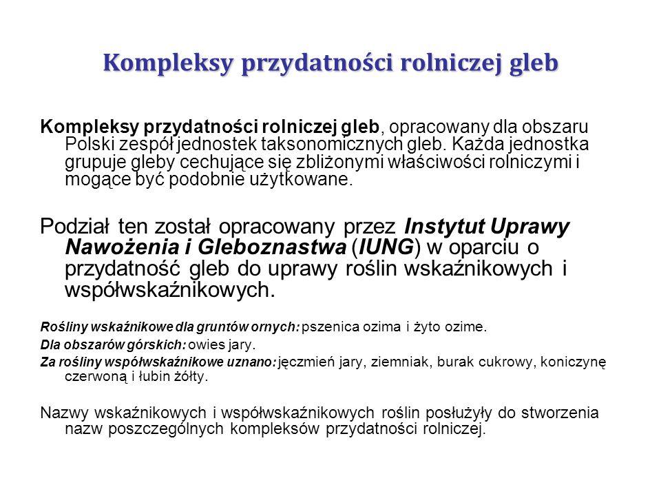 Kompleksy przydatności rolniczej gleb Kompleksy przydatności rolniczej gleb, opracowany dla obszaru Polski zespół jednostek taksonomicznych gleb. Każd