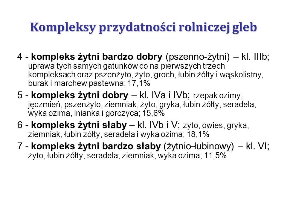 4 - kompleks żytni bardzo dobry (pszenno-żytni) – kl. IIIb; uprawa tych samych gatunków co na pierwszych trzech kompleksach oraz pszenżyto, żyto, groc