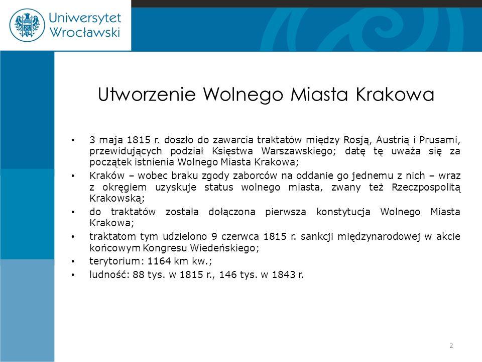 Utworzenie Wolnego Miasta Krakowa 3 maja 1815 r. doszło do zawarcia traktatów między Rosją, Austrią i Prusami, przewidujących podział Księstwa Warszaw