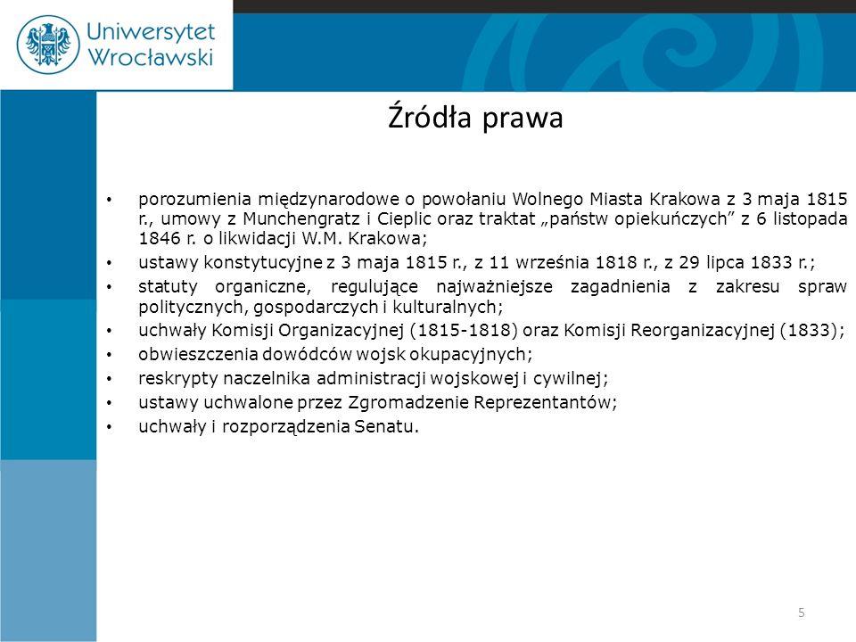 """Źródła prawa porozumienia międzynarodowe o powołaniu Wolnego Miasta Krakowa z 3 maja 1815 r., umowy z Munchengratz i Cieplic oraz traktat """"państw opie"""